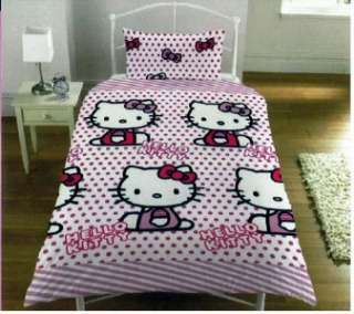 NEW HELLO KITTY PINK DOTS SINGLE DUVET QUILT COVER SET
