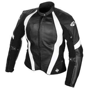 JOE ROCKET AURA WOMENS LEATHER JACKET BLACK/WHITE SM