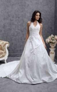 line Halter Chapel Train Satin Taffeta Wedding Dress