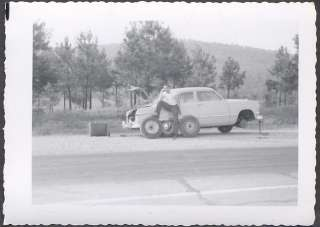 Vintage Car Photo Man w/ 1950 Ford Roadside Tire Repair 706248