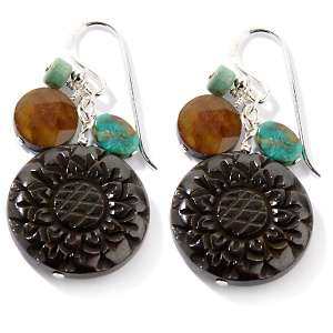 Studio Barse Multigemstone Sterling Silver Carved Flower Dangle