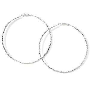 Sterling Silver Diamond Cut Large Hoop Earrings