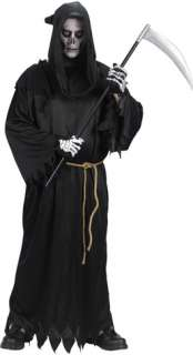 Hooded robe, belt, and skeleton gloves. Add your own skeletal makeup