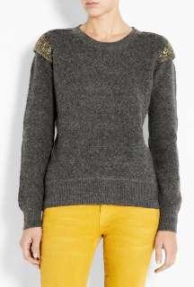 DAY Birger Et Mikkelsen  Grey Day Eminence Sequinned Shoulder Sweater