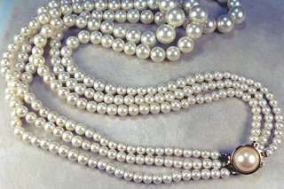 Vintage White Simulated 3 Strand Pearl Necklace, Wedding Bride Bridal