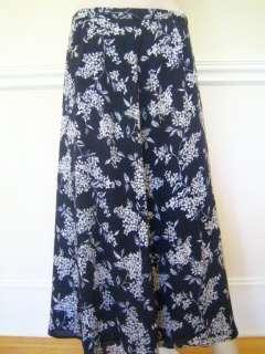 PETITES Dark Navy Silk White Floral Print NEW A line Skirt 8P
