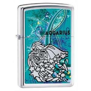 Zippo Lighter Zodiac Aquarius, High Polish Chrome