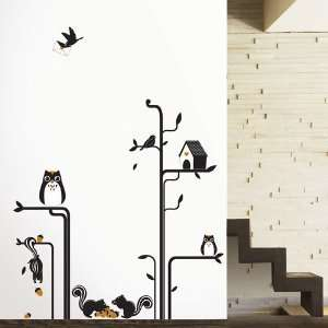 Modern House Owls Squirrels Tree removable Vinyl Mural Art