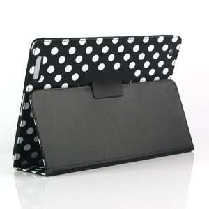 Black and White Polka Dot Pattern Leather Flip Stand Case