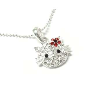 Bling Kitty Face with Red Crystal Flower 3/4 Kitty Charm on 16 Ball
