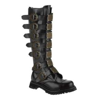 MENS SIZING Black Leather Combat Boots Steampunk Style