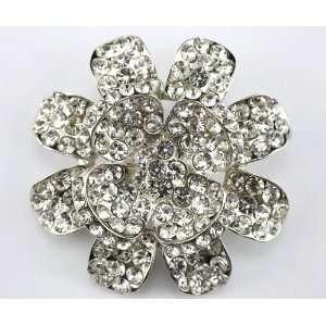 Clear Swarovski Crystal Flower Brooch Pin