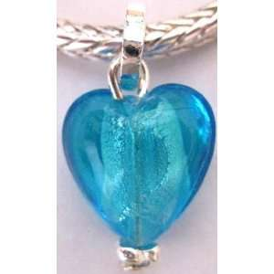 Silver Plated Glass Heart Charm Pendant Fits Pandora Blue