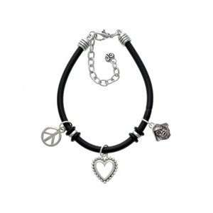 Small Pirate   Mascot Black Peace Love Charm Bracelet
