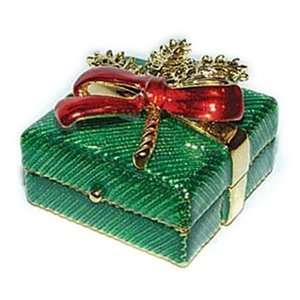 24k Gold Plated, Pewter Green & Red Enameled Christmas