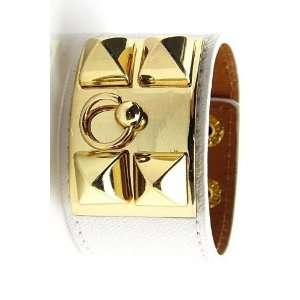 New Leather Gold Stud Cuff Bracelet white Everything Else