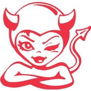 Cute Devil Girl 7 Red Decal Sticker Laptop Car Macbook