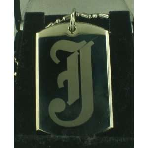 CUSTOM SINGLE INITIALS `F` Dog tag Pendant Necklace