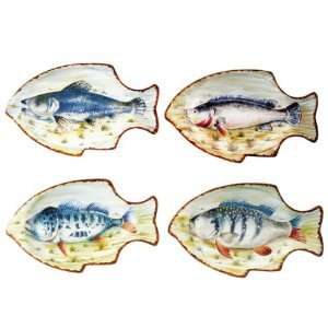 of 4 Vibrantly Colored Decorative Tropical Fish Plates Home & Kitchen