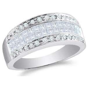 White Gold Diamond Wedding , Anniversary OR Fashion Right Hand Ring