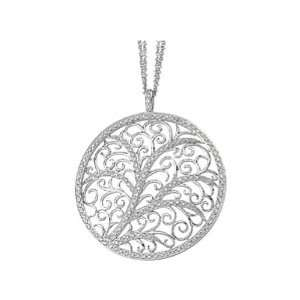 14K White Gold Diamond Circle Filigree Necklace   0.75 Ct. Jewelry