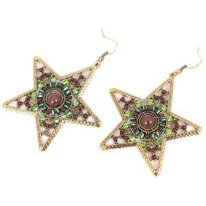 Antique Bronze Five Pointed Star Ear Drop Crystal Hook Dangle Earrings