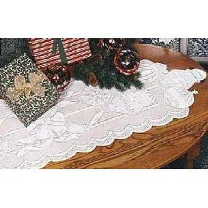 Lace Christmas Ornaments Table Runner 14 x 60 White