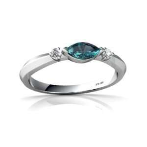 14K White Gold Marquise Created Alexandrite Ring Size 4 Jewelry