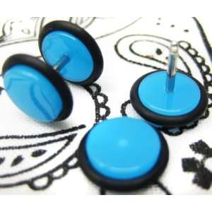 16G Fake Ear Plugs 0G Ear Cheater Blue
