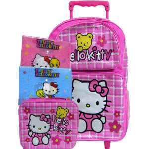 Pink Rolling Backpack Matching Lunch Box Bonus 2 Folders Toys & Games