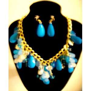 New Fashion Chunky Gold Tone Chain   Turquoise Blue Bead