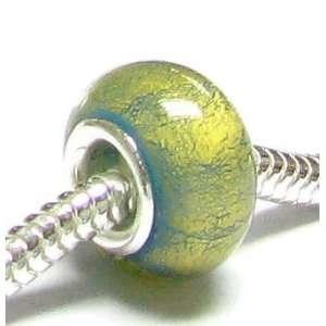 Gold Foiled Murano Turquoise Glass Bead for Pandora European Charm