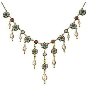 Negrin Necklace Entwined with Blue, Orange, Faux Pearl and Green