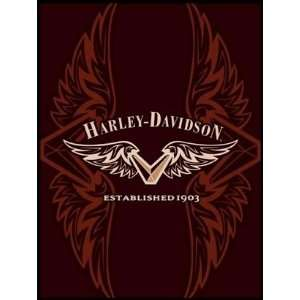 Microfiber Blanket/Throw L Harley Davidson V Wing