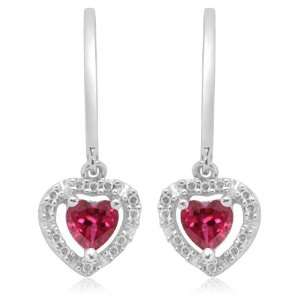 Gold Heart Shaped Created Ruby with Diamonds Heart Earrings Jewelry