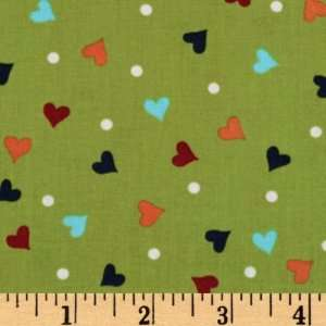 44 Wide Hugs & Kisses Polka Dot Hearts Green Fabric By