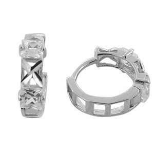 Textured CZ Allure 14K White Gold Huggie Earrings Jewelry