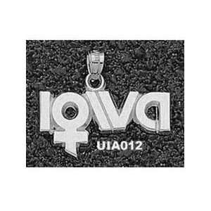 Iowa Hawkeyes 1/2in Sterling Silver Ladies Logo Pendant