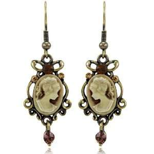 Ivory Cameo Topaz SWAROVSKI CRYSTALS Burnish Fashion Dangle Earrings