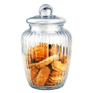 com 4 X 10 Ribbed Retro Glass Cookie Jar with Lid Kitchen & Dining