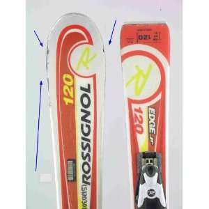 Used Rossignol JR Edge Kids Snow Skis with Binding 120cm C Chips Red