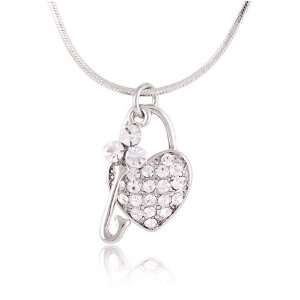 Crystal Heart with Key Charm Pendant Necklace Fashion Jewelry Jewelry