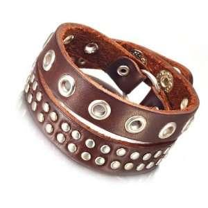 com Mens Cherry Brown Studded Genuine Leather Bracelet Cuff Jewelry
