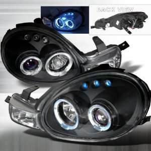 Halo Projector Headlights   Black with Blue Lenses (Pair) Automotive