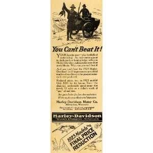 1922 Ad Harley Davidson 1923 Motorcycles Duck Hunting   Original Print
