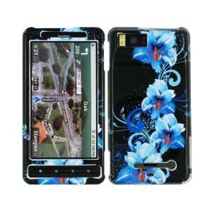 Blue Hibiscus Crystal 2D Hard Case Cover for Motorola Droid X
