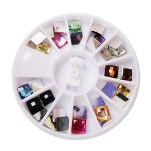 Square Nail Art Rhinestones Glitter Tips Decoration Manicure Wheel, 12