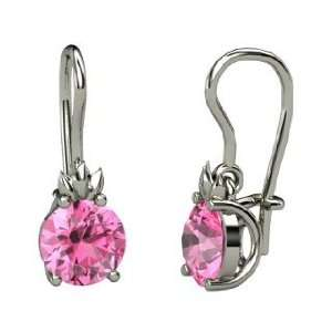 Gem Flame Earrings, Round Pink Sapphire Sterling Silver