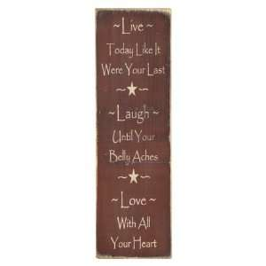 Live*Laugh*Love Country Rustic Primitive Burgundy