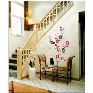 Color   Flower and cat     Wall Art Home Decors Murals Removable